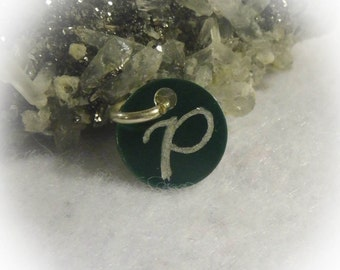 Letter P Hand Engraved Green Personalized Small  Charm 1/2 inch