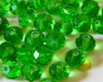 Green Crystal Faceted Beads 6mm x 4mm