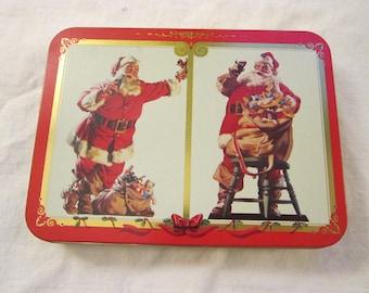 vintage Coca Cola SANTA playing cards - 2 decks in tin - nostalgic