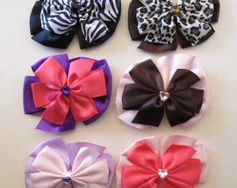 Set of ALL 4 Pinwheel Bow Clip - Zebra - Cheetah - Crystal heart center - Pigtail -