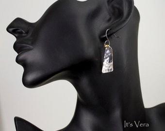 Dangle earrings, handmade earrings, unique earrings, mixed metal earrings, Eco fashion earrings,small silver earrings,little dangle earrings