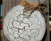 Distressed, Rustic, Crackle Finish Wood Christmas Ornament Decoration