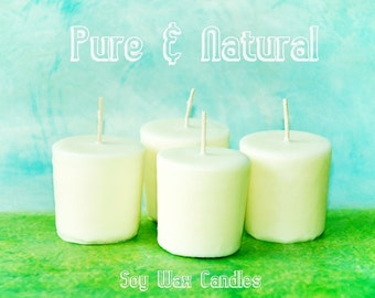 Set of 4 Pure & Natural, Dye-free, Scent-free, White Soy Wax Votive Candles, 2 oz. size Luminaries