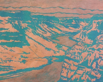 Canyon of the Morning - Original Linocut Print