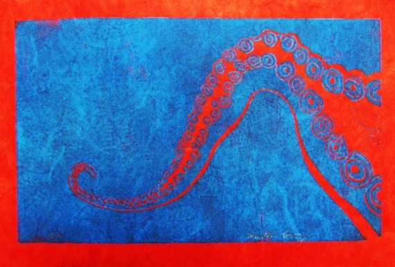 Octopus Tentacle (Blue on Red 1st Ed. or Red on Blue 2nd Ed.) - Original Linocut Print