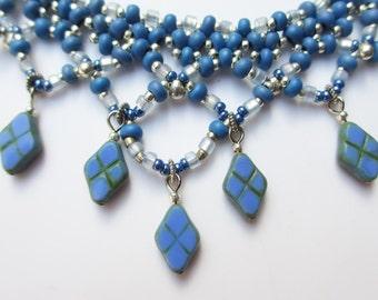 Periwinkle blue bead woven necklace set