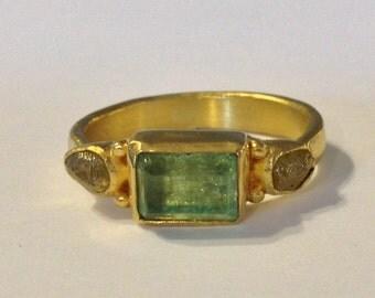 Handmade gold ring, diamonds and emerald