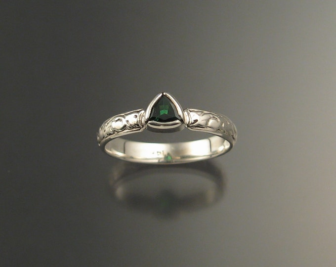 Green Garnet Triangle Wedding ring 14k White Gold Victorian bezel set Tsavorite Garnet ring made to order in your size