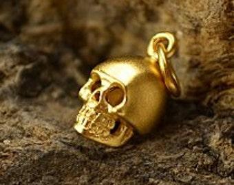 Tiny Gold Plated Skull Charm