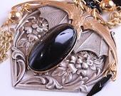 Steampunk Necklace Gothic Romance Dark Heart Necklace Gothic Steampunk Jewelry Brass Black - DesignsBloom