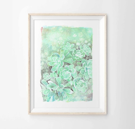 "Succulent Plant Painting Print from my original Handpainted Illustration - 8""x10"" or 5""x7"" - Archival Print"