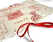 Circular Needle Organizer Red French Toile Fabric Needle Case