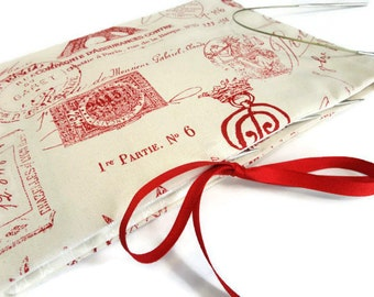 Circular Knitting Needle Organizer Red French Toile Fabric Needle Case 12 Pockets Multiple Needle Storage Book Fold Grosgrain Ribbon Closure