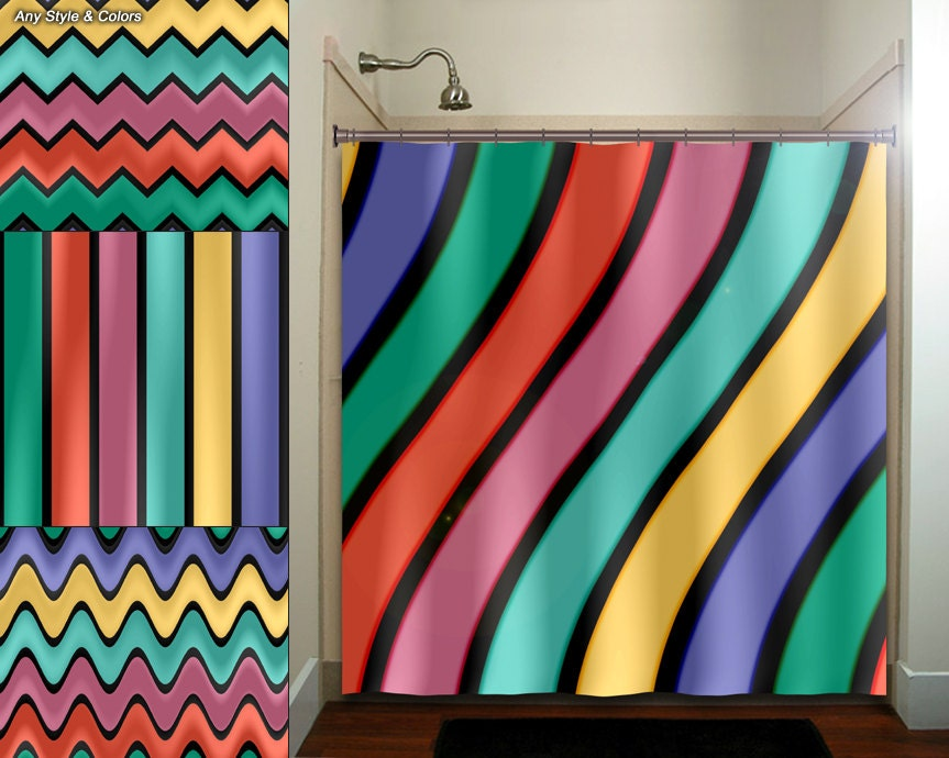Multi Color Wave Stripe Chevron Shower Curtain By TablishedWorks