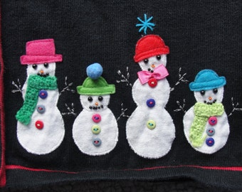 Ugly Christmas Sweater w Whimsical Appliqued Snowmen