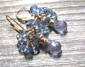 Blue Topaz Cluster Earrings, 14K Gold Filled, Hand Wire Wrapped, December Birthstone Jewelry, Mystic Blue Topaz Jewelry, Gift For Her