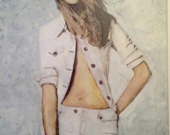 Denim Blanc - Watercolour Print