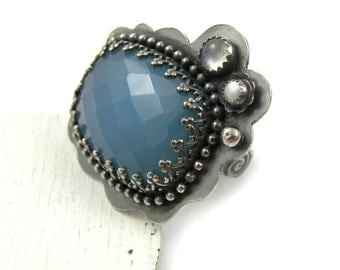 Sterling silver ring , blue metalwork ring , gemstone jewelry , metalwork fine jewelry , adjustable ring , retro ring