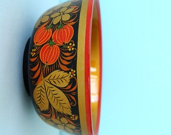 Vintage Hand Painted Wooden Bowl - Hohloma - Khokhloma - Gold Black Red Strawberries - Wood Pain Laquer - from Russia / USSR / Soviet Union