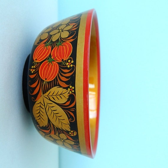 Vintage Hand Painted Wood Beads Russia