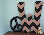 Chevron Custom Letter door hanger, wall decor --approx. 22 inches tall--MADE TO ORDER