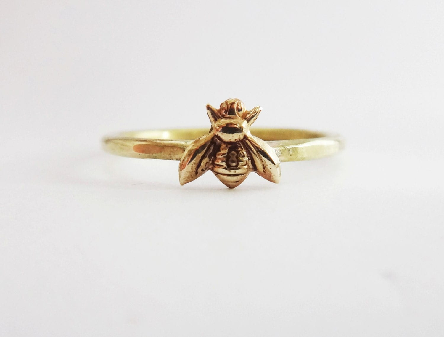Bee Ring Tiny Honeybee Ring Gold Bee Ring Gold Brass Bee
