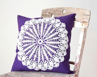Purple and white Pillow Cover With Crocheted Doily Applique OOAK decorative accent cushion