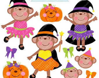 Girly Halloween Monkeys Cute Digital Clipart - Commercial Use OK - Halloween Graphics, Halloween Clipart, Witch Graphics, Witch Monkey