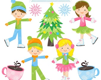 Ice Skating Fun Cute Digital Clipart - Commercial Use OK - Ice Skating Graphics, Ice Skating Clipart, Christmas