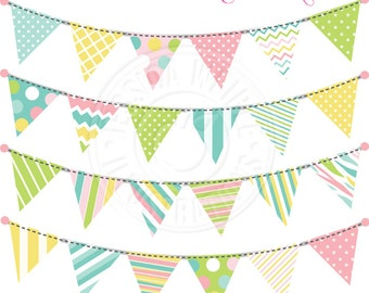 Party Bunting V3 Cute Digital Clipart for Invitations, Card Design, Scrapbooking, and Web Design, Garland Bunting Clipart