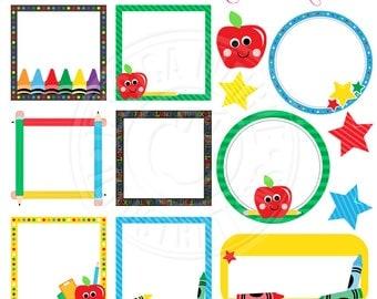School Frames Cute Digital Clipart for Commercial or Personal Use, School Frame Clipart, School Theme Frames