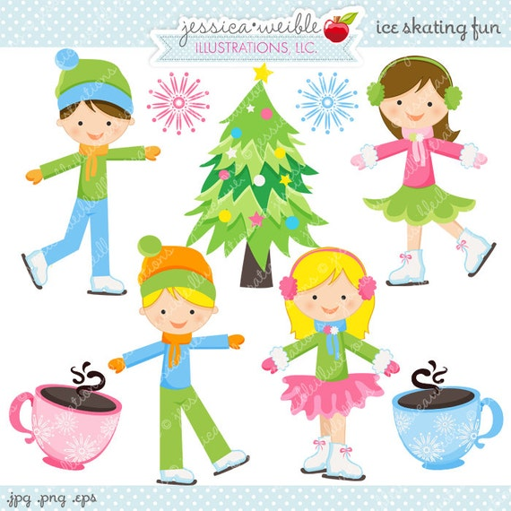 Ice Skating Fun Cute Digital Clipart - Commercial Use OK - Ice Skating    Ice Skating Clipart