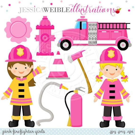 Pink Firefighter Girls Cute Digital Clipart - Commercial Use OK - Pink Firetruck Clipart, Firefighter Clipart, Girl Firefighters