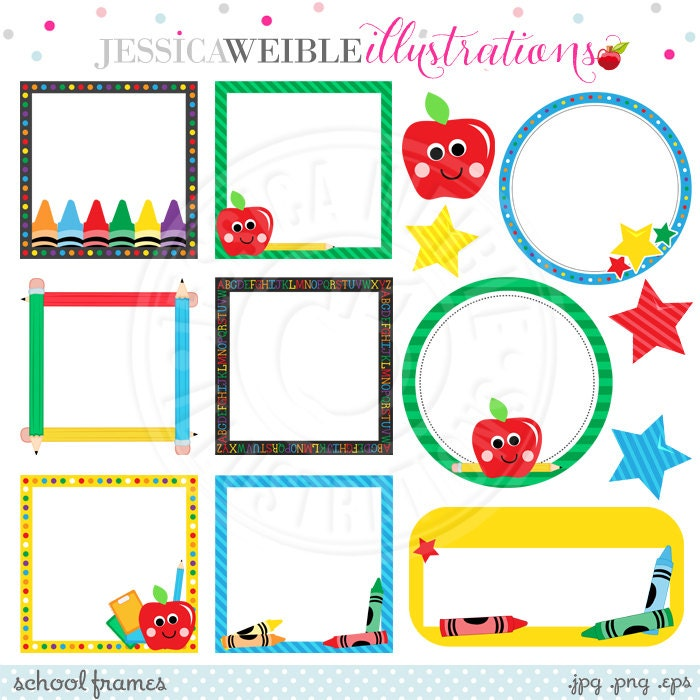 school frames cute digital clipart for commercial or personal use school frame clipart school theme frames