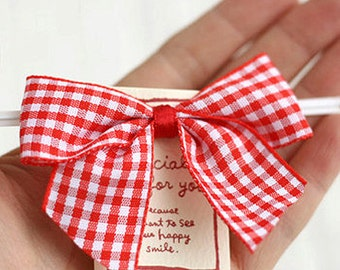 5 Check Ribbon Tag Twist Ties - Red (3.1 x 2.4in)