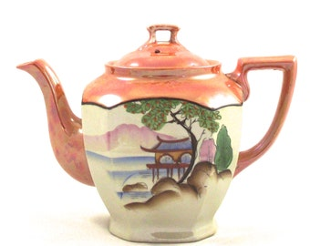 Painted Japanese teapot, Vintage Ceramic Pot with Iridescent Glaze, Landscape Illustrated Hand Painted on Front
