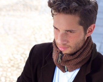 Luxurious cowl, infinity scarf, neckwarmer, baby alpaca, silk, free shipping, GENTS-Lord.