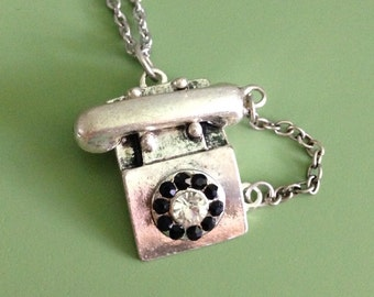Rotary dial phone necklace
