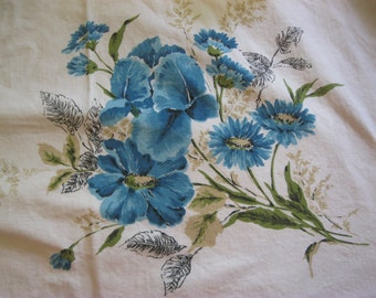 Vintage Printed Tablecloth Table Cloth, Blue Daisies, Flowers, Floral Print