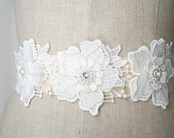 Flower Sash, Lace Sash, Wedding Sash, Bridal Sash