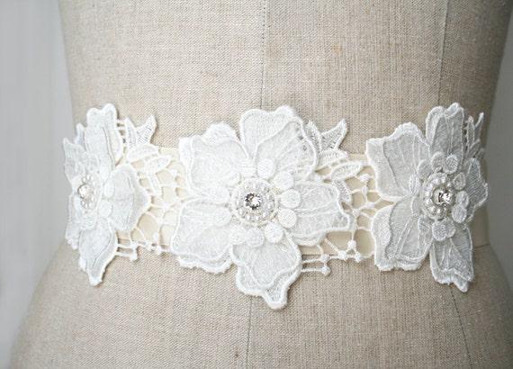 Flower Lace Sash, Beaded Sash, Bridal Sash