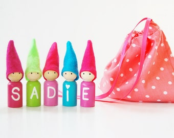 Personalized Name Gnomes - Customize Colors - Includes Storage Bag- Valentines Day