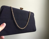 Stunning Vintage Black Clutch with Gold Accents
