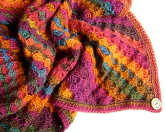 HALF OFF - Hand Crocheted Blanket - Beautiful Colors of a Sunset