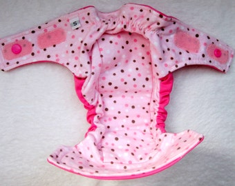 Pink and brown dot AIO cloth diaper