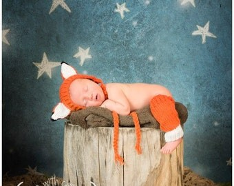 Fox Hat Baby Bonnet and Leg Warmers Knitted Photo Prop, Newborn, 0-3 Months, Hand Knit, Infant Gift, Orange, White, Black
