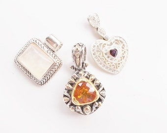 nice lot pendants and enhancer silver tone assortment large charms pendants