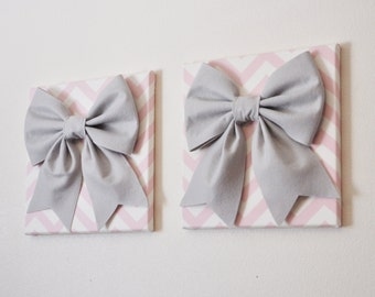 """TWO Wall Hangings -Large Gray Bow on Light Pink and White Chevron 12 x12"""" Canvas Wall Art- Baby Nursery Wall Decor- Wedding and Baby Shower"""