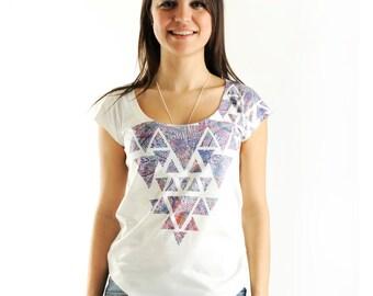 New Arrival! Lilac Geometric Women t-shirt summer fashion, one side printed
