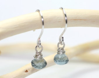 Gemstone Jewelry Moss Aquamarine Sterling Silver Wire Wrapped Gemstone Earrings